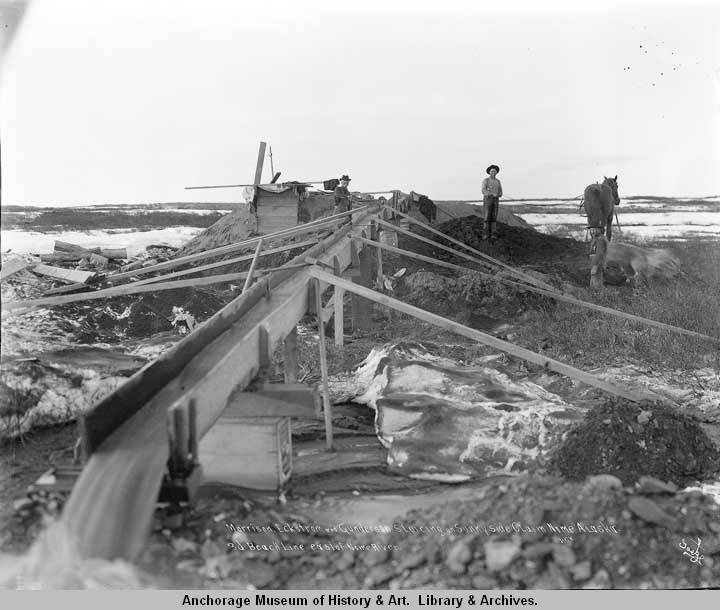 Morrison, Eckstrom and Gunderson sluicing on Sunny Side Claim, Nome, Alaska, 3d Beach line, east of Nome River.jpg
