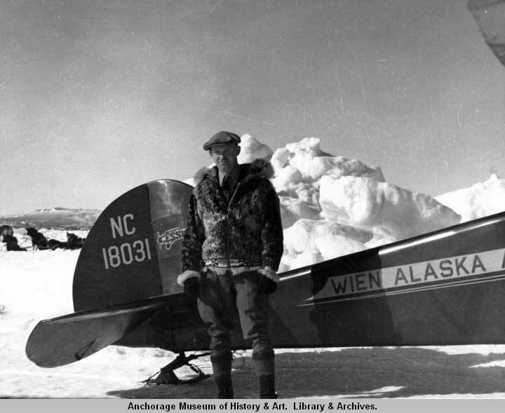 Sigurd Wien by Cessna aircraft on sea ice at Nome..jpg