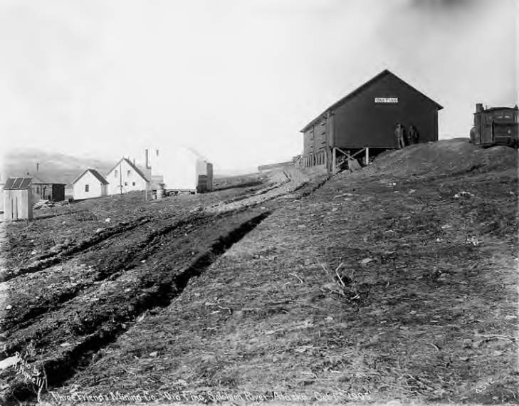 Three Friends Mining Company's buildings at Oro Fino mining camp, near the Solomon River, vinicity of Nome, Alaska, October 1, 1905.jpg