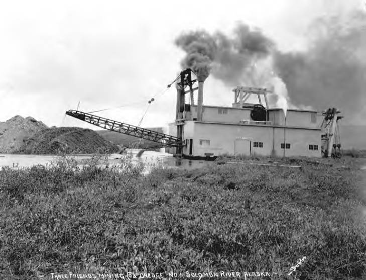 Three Friends Mining Company's dredge No. 1 at Solomon River, Alaska, circa 1905.jpg