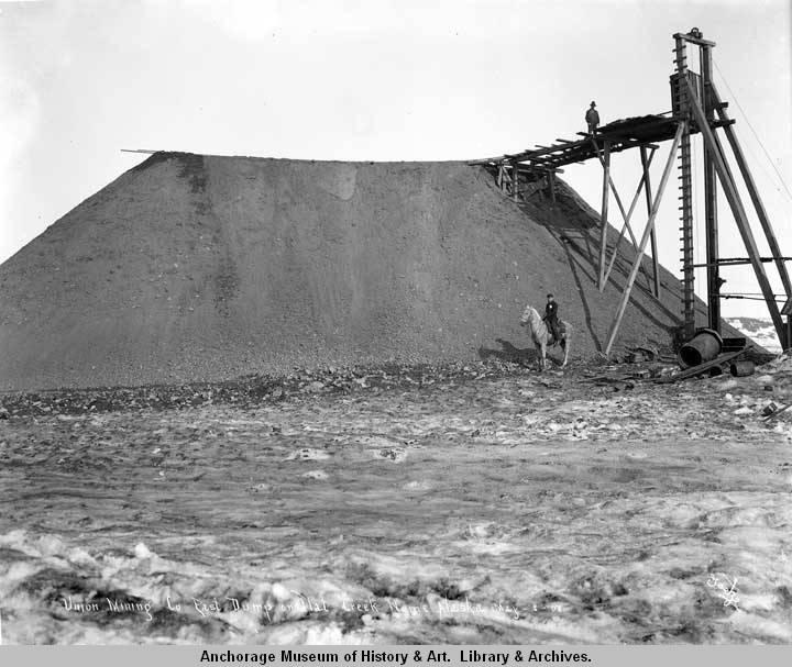 Union Mining Co., east dump on Flat Creek, Nome, Alaska, May 3, [19]08..jpg