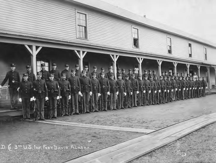 United States soldiers standing at attention at Fort Davis, Alaska, circa 1908.jpg