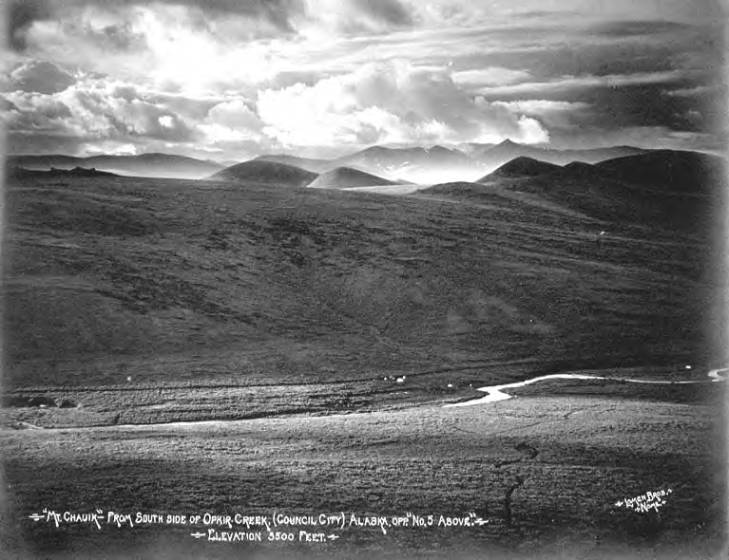 Valley with Ophir Creek and Mount Chauik, Council, Alaska, 1908-1920.jpg