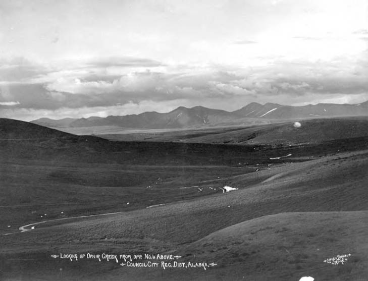 Valley with Ophir Creek and mountains in the background, Council, Alaska, 1908-1920.jpg