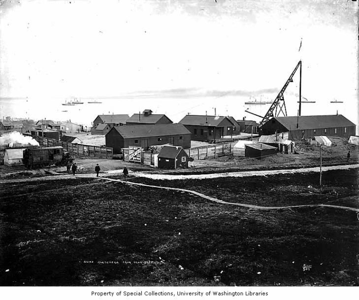 Wild Goose Railroad and buildings at Nome, Alaska, circa 1905.jpg