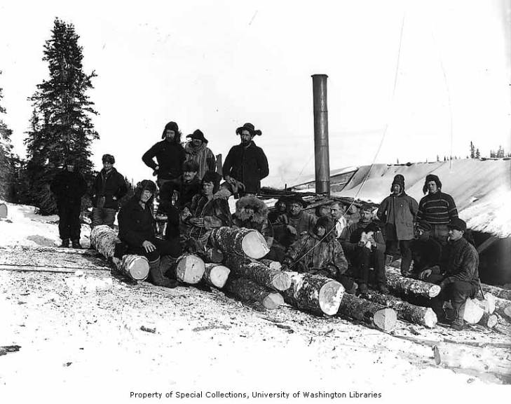 Workers and lumber probably from the Wild Goose Mining and Trading Company's mill on Duncan Creek, Alaska, circa 1905.jpg
