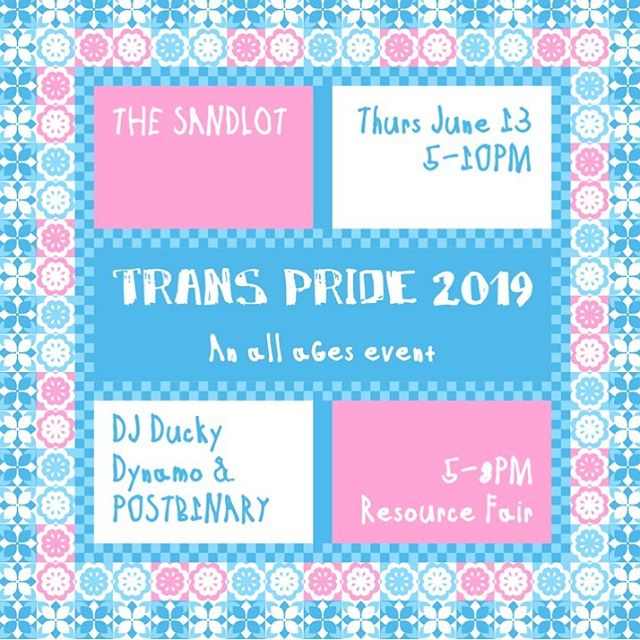 Join us at @sandlotbaltimore for our Officially Unofficial Trans Pride Festival! 🎉 Featuring a resource fair 👍🏾 Performances by @p0stb1nary, @itz.ravynn_, @bbygirl_devine1, & @duckydynamo! 🙌🏾 No cover (donations are appreciated), ALL AGES! ✨ See y'all on Thursday, June 13th from 5-10p! #bmoretransalliance #sandlotbaltimore #bmoretrans #baltimore #bmore #mybmore #mybaltimore #bmoretranspride #supportlocal