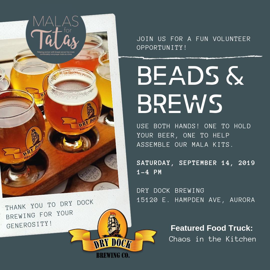 Beads and Brews, Malas for Tatas, Aurora, Colorado, Dry Dock Brewing