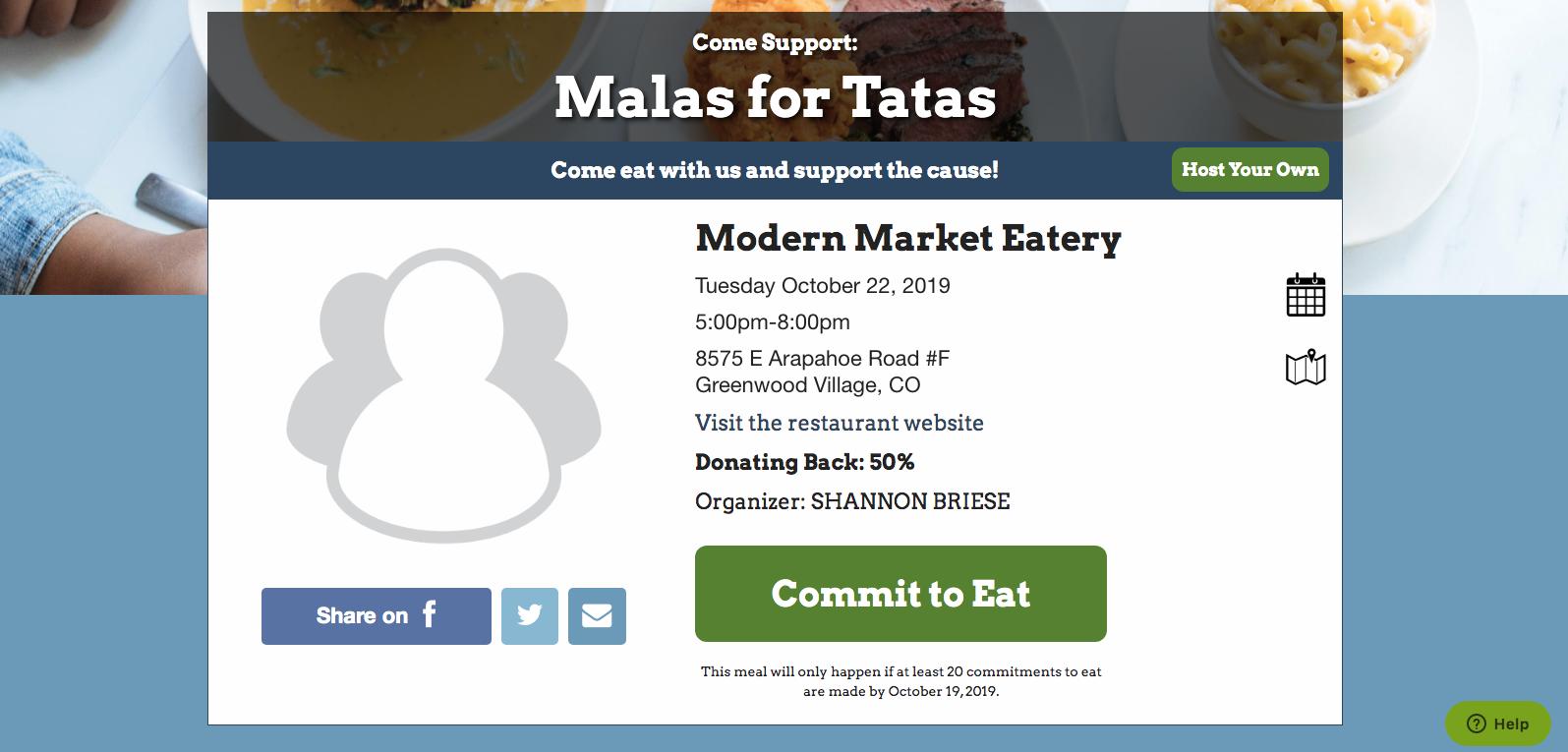 Malas for Tatas Modern Market Eatery, Greenwood Village CO