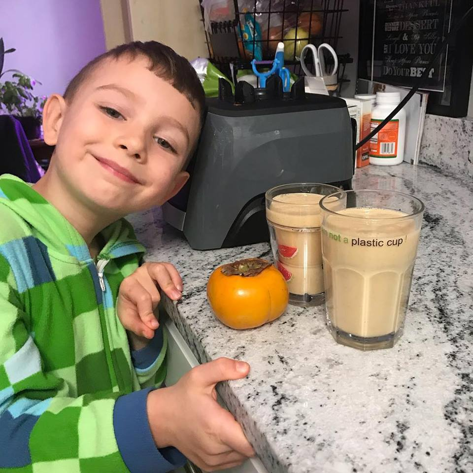 Tristan recently making a Persimmon Lassi - a twist on a classic Indian drink. This recipes includes 1 persimmon, 2 medjool dates, 2/3 cup pea protein (Ripple) milk, & ice - made in the Vitamix!