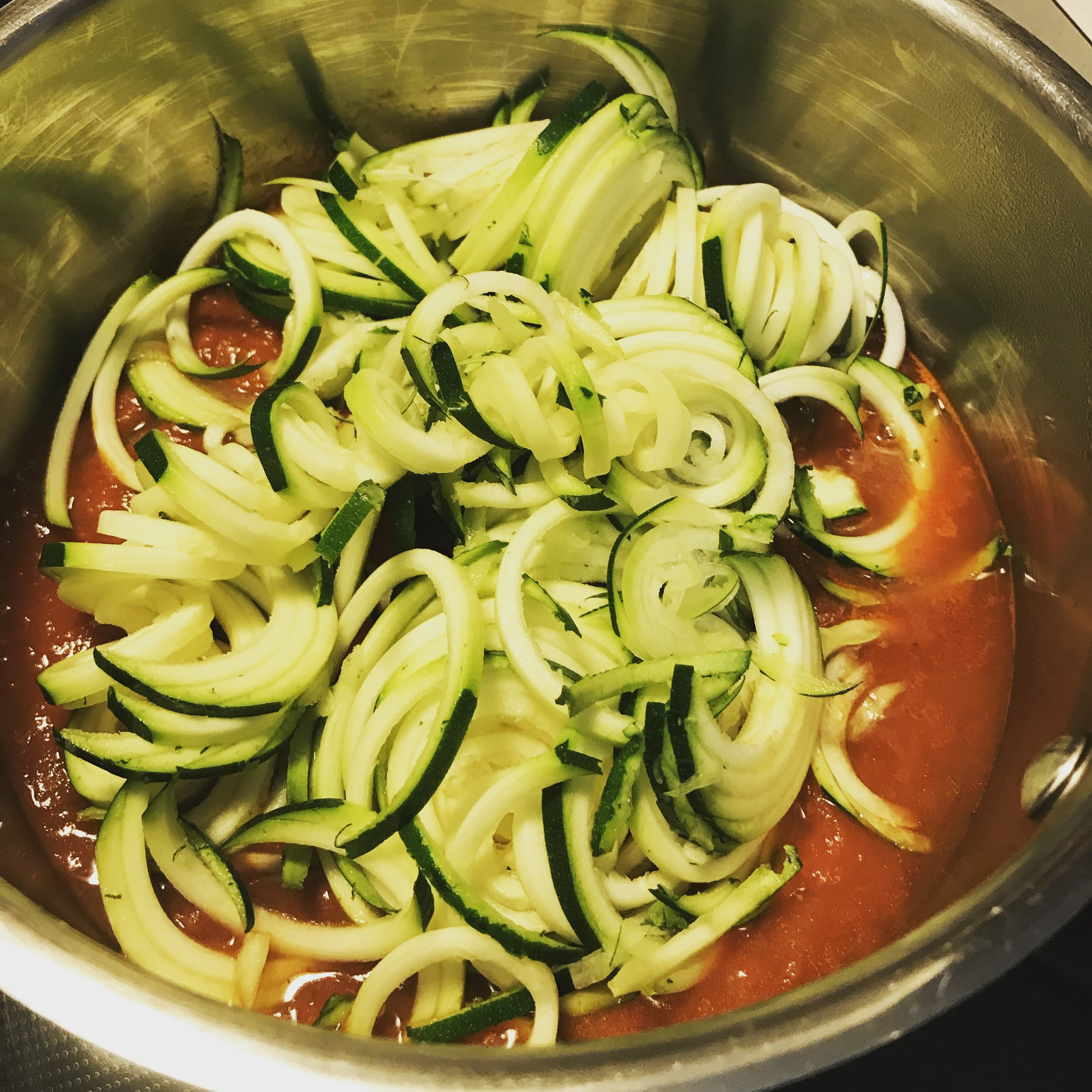 Zoodles! - Zucchini noodles made in a food processor in place of grains.