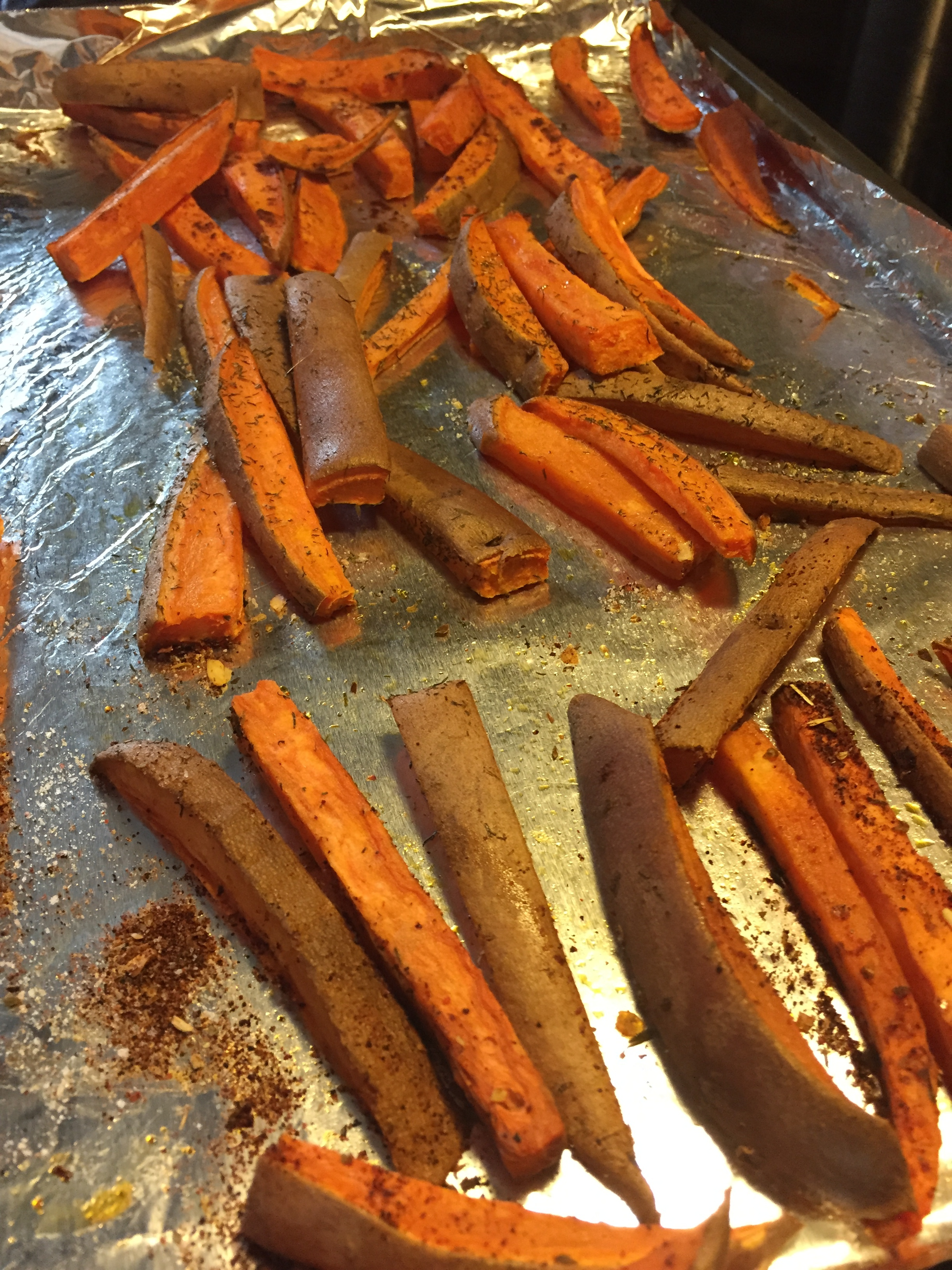 Sweet potato fries - as simple as slicing a sweet potato, tossing with olive oil and seasoning to bake! Try a chili spice, dill, cumin or curry on your next batch!