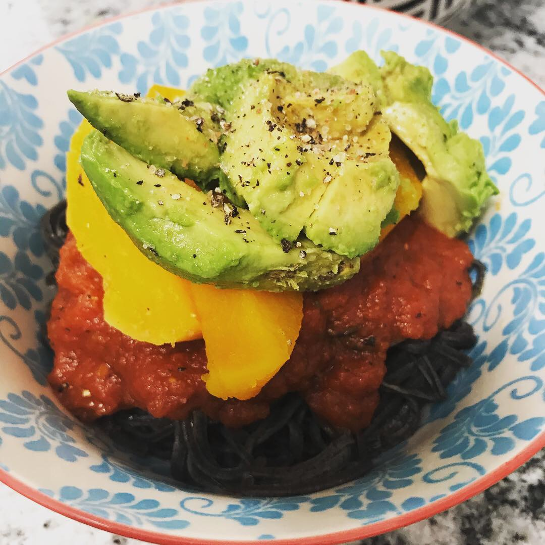 Black Bean noodles drizzled with Olive Oil, tomato sauce, butternut squash with grass fed butter, topped with avocado - 3 great sources of fats to complete the meal!