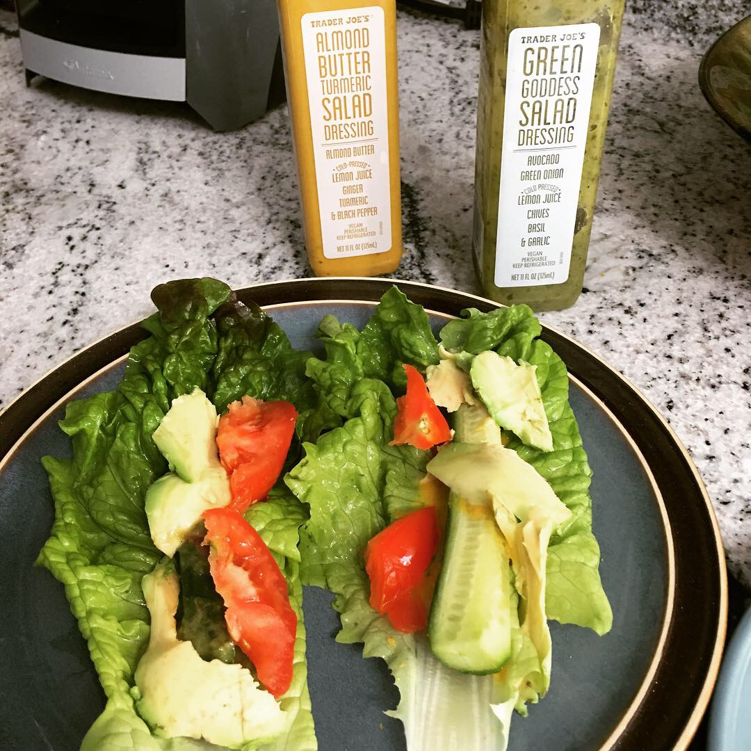 Lettuce Wraps: Cucumber, dressing, tomatoes & avocado with dressing. It's a great way to mix up your salad routine!