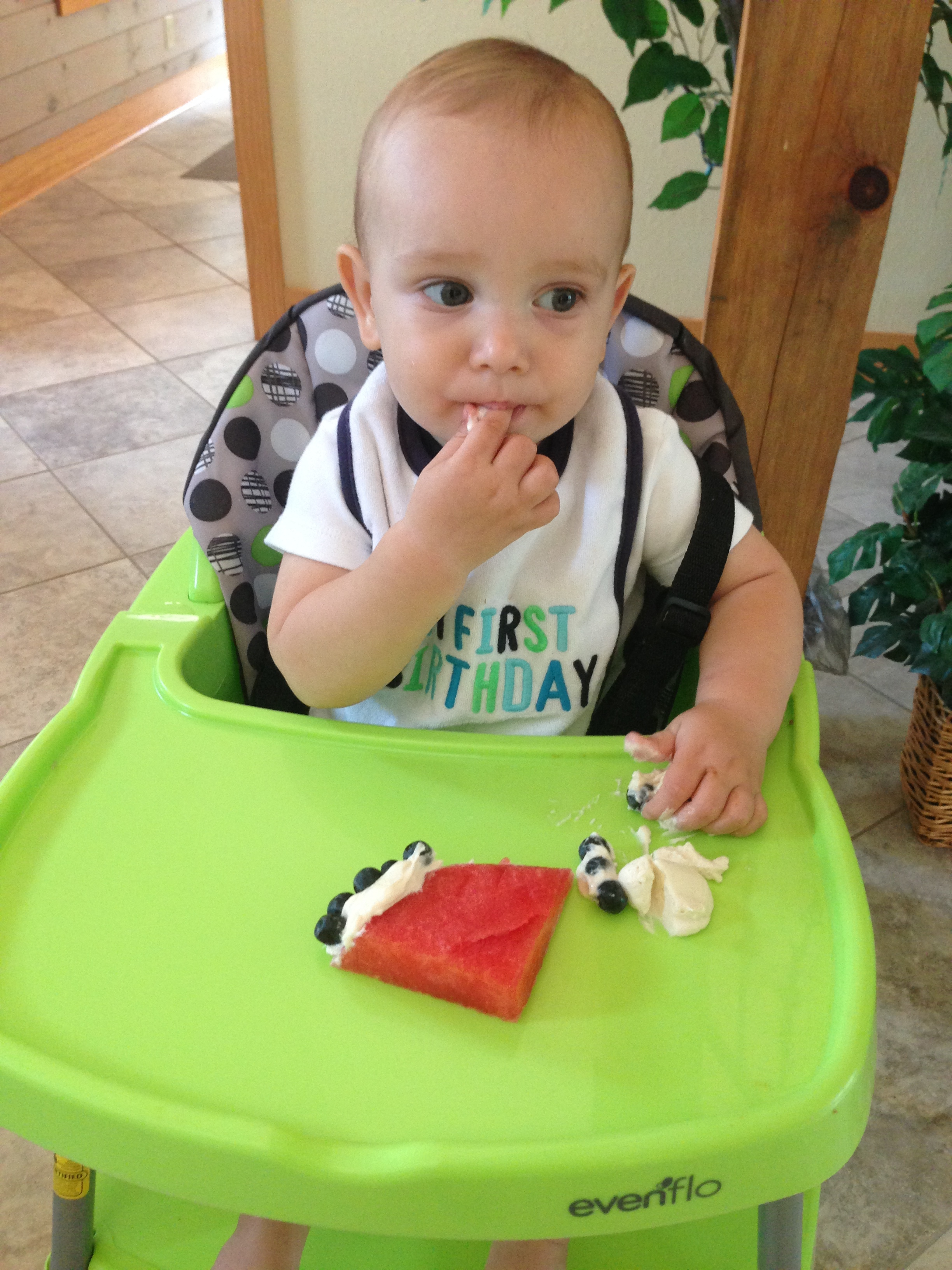 """Chef Tristan at his First Birthday - Watermelon """"Cake"""""""
