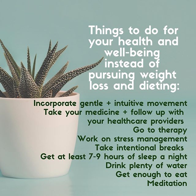 Gentle encouragement that pursuing improved health, feeling better, managing a disease and taking care of yourself does not have to look like going on a diet or the pursuit of weight loss. It can look like kindness to your soul and your body. You're allowed to take care of your body AND not restrict food and food groups ✊🏼💜. (Also i love a good list 💕)