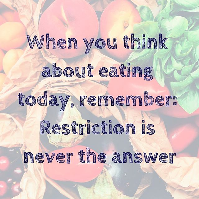 Gentle reminder as you make food choices this weekend: nourishment is what your body needs. Restriction will not improve how you feel, or your relationship with food and your body. Nourishment is kindness, so choose kindness ✊🏼💜.