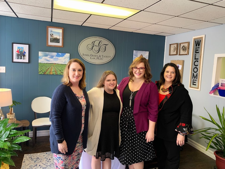 Meet our team! From left to right—attorney Brandi L. Jones, attorney Heather E. Tackett, attorney Emily C. Green, and legal assistant Donna G. Smith.