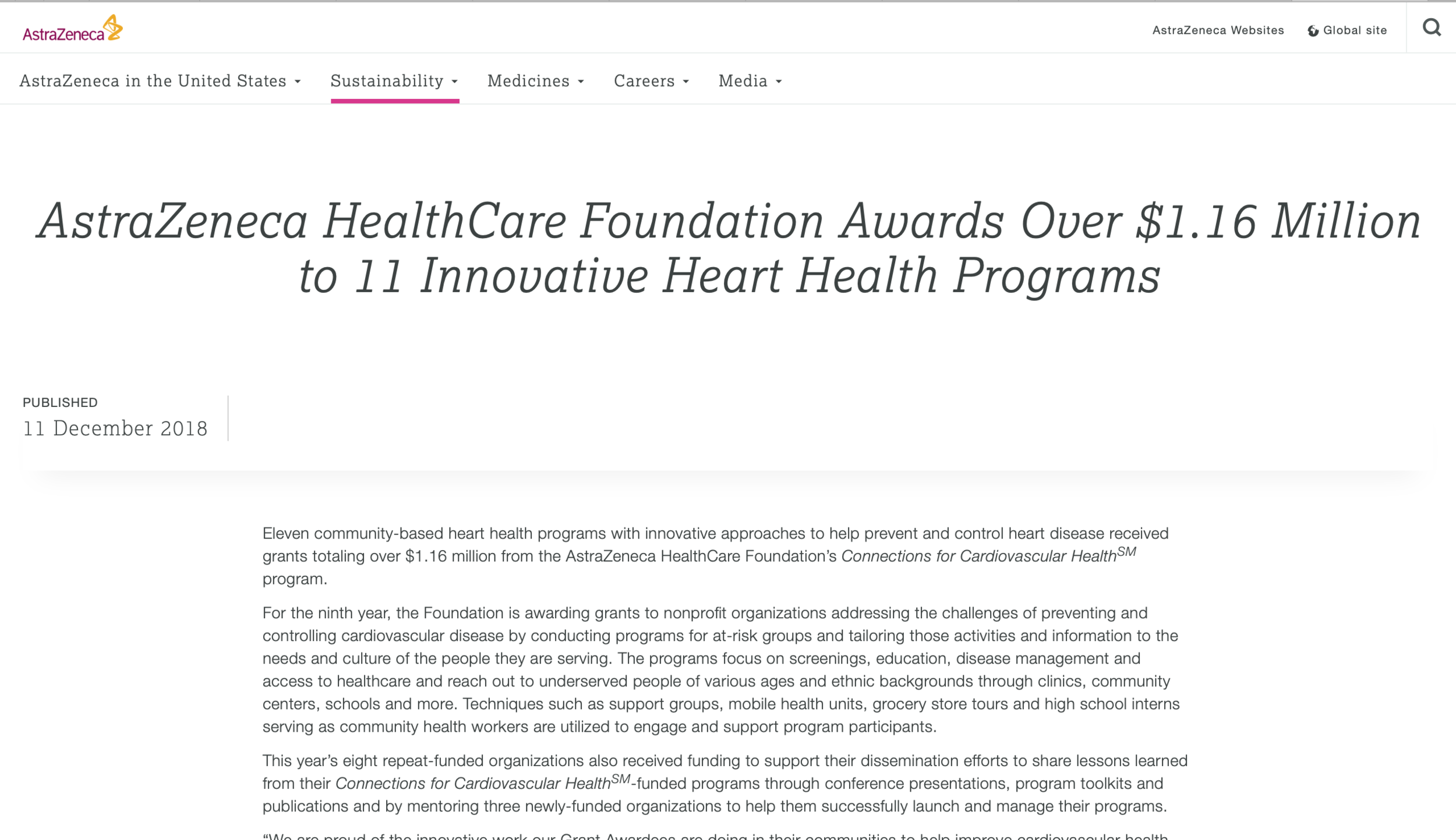 AstraZeneca HealthCare Foundation Awards Over $1.16 Million to 11 Innovative Heart Health Programs.png