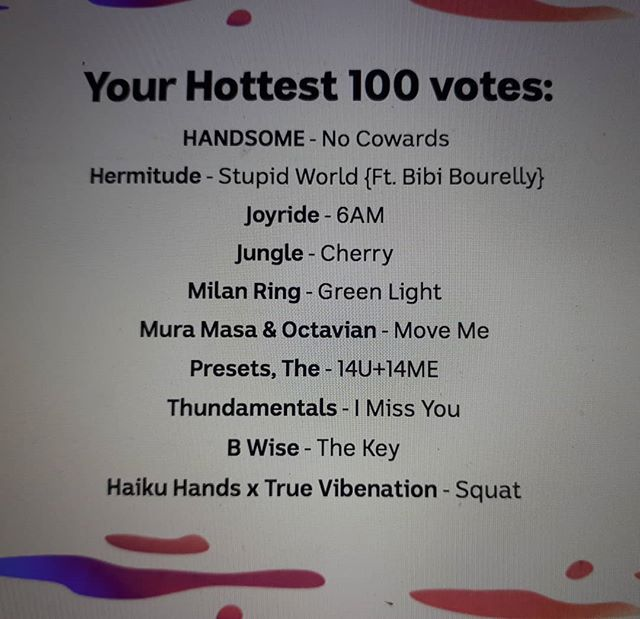 #betterlatethannever no matter who does or does not make the hottest 100 this year, if you're a musician of any kind and you wrote/produced/recorded even just one song and put it out for the world to listen to, you should be super proud of that achievement🙌 Creating art from the heart is not easy but god damn it's a bewdiful thang❤️ @iamhandsomemusic @donjoyride @jungle4eva @milan.ring @the_mura_masa @octavianessie @thepresets @thundamentals @ugottabwise @haikuhands @truevibenation