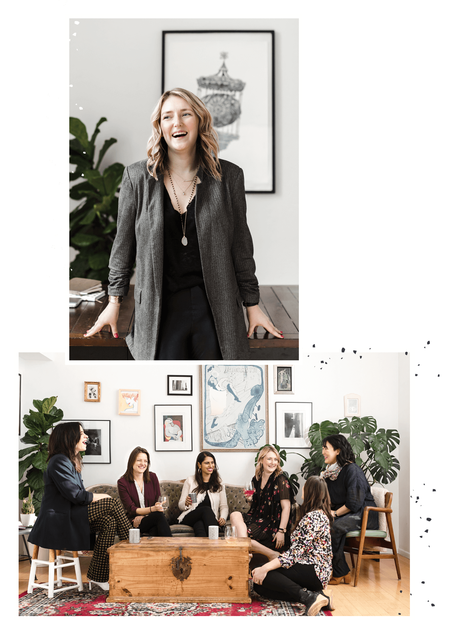 2 photos. Megan at the top sitting on a table. The second photo shows the women gathered on couches and laughing