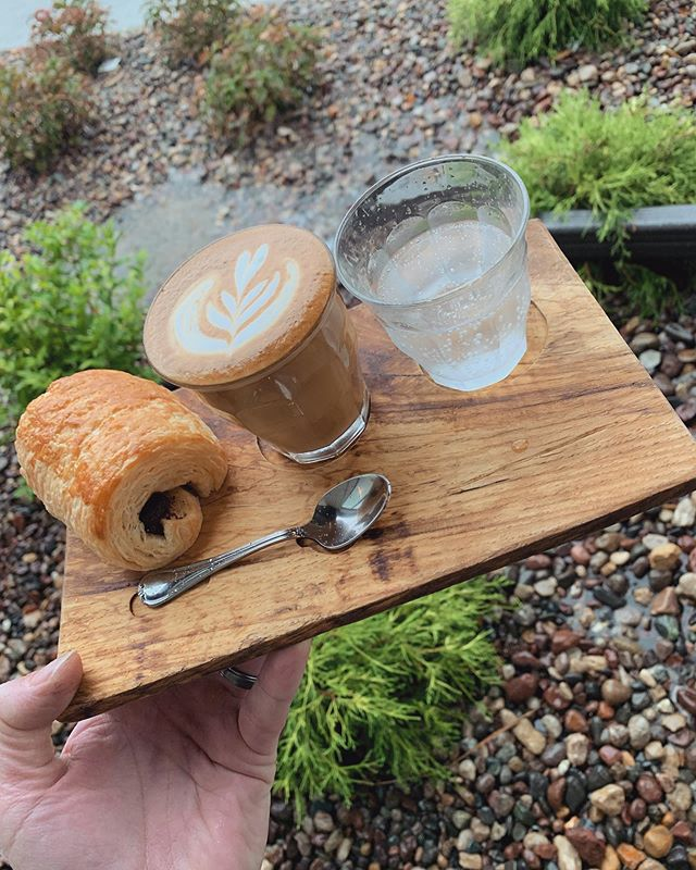 Brighten up your rainy Sunday with a #Cortado from @392Caffe & a #Croissant from your favorite neighborhood patisserie @SmallTownPastry! We'll be here until 2PM!
