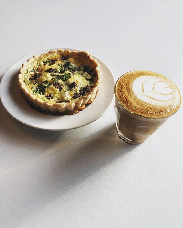 Cortado & Quiche. @smalltownpastry + @392QC #DrinkBetterCoffee