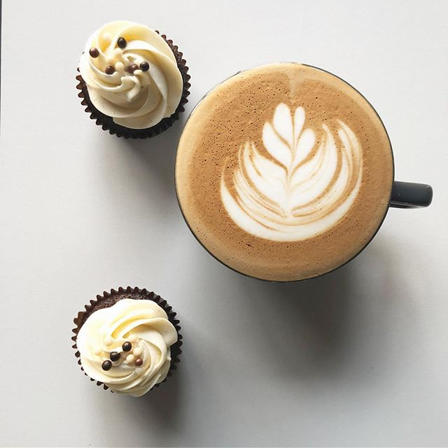 Cappuccino and Cupcakes. Yum! Join us today! @392caffe inside @SmallTownPastry #DrinkBetterCoffee #392Caffe . . . Photo and Coffee by @edgar.j.ramirez #Team392