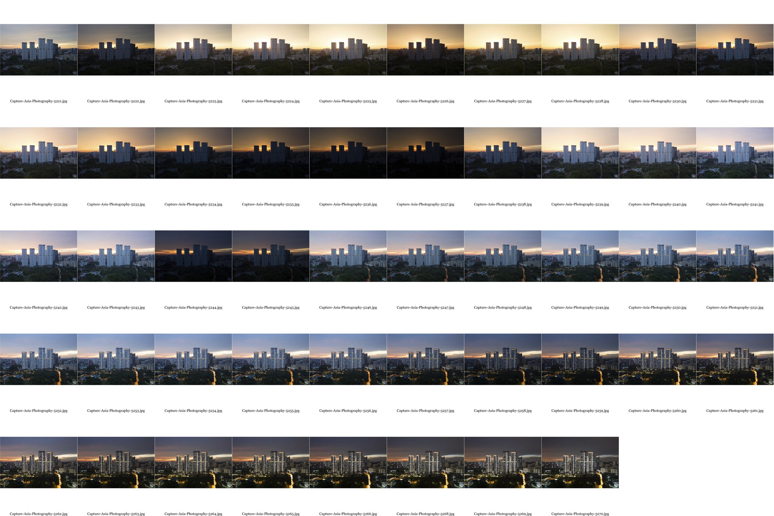 Sunset photography contact sheet