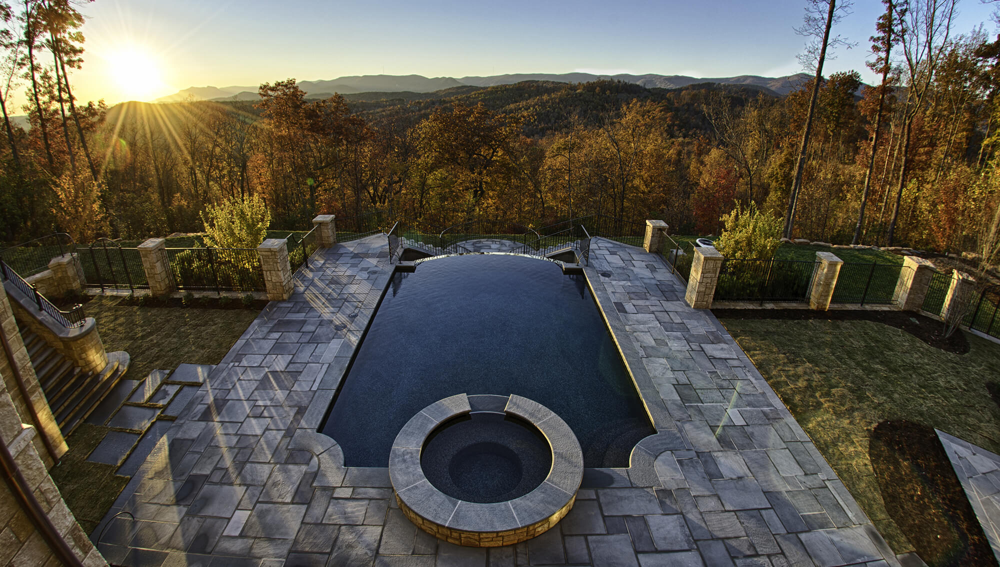 Infinity Pool Overlooking Woods