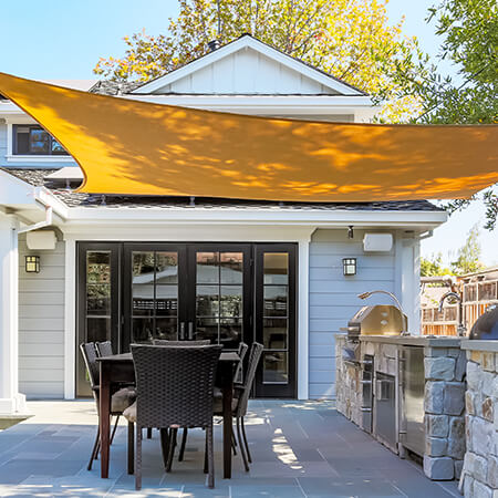 Sun sail over a patio in high end home