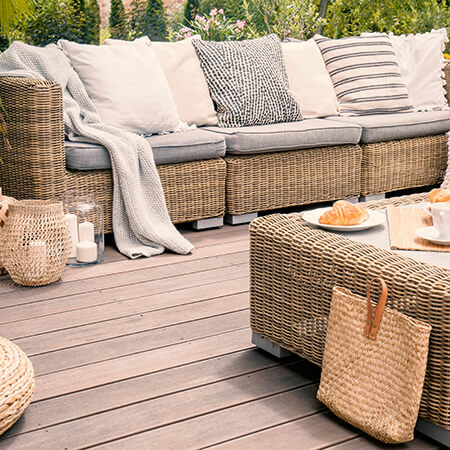 Outdoor furniture on a wooden deck