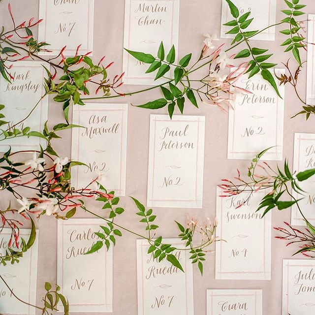 Our take on a 'Romantic Garden Wedding' - complete with blush tones and jasmine vine!  We teamed up with the incredible stationer @milkfedpress and calligrapher @leighwellsillus for these letterpress printed + hand calligraphed escort cards.  A definite showstopper!  Photo by @christinamcneill  Florals by @loopflowers