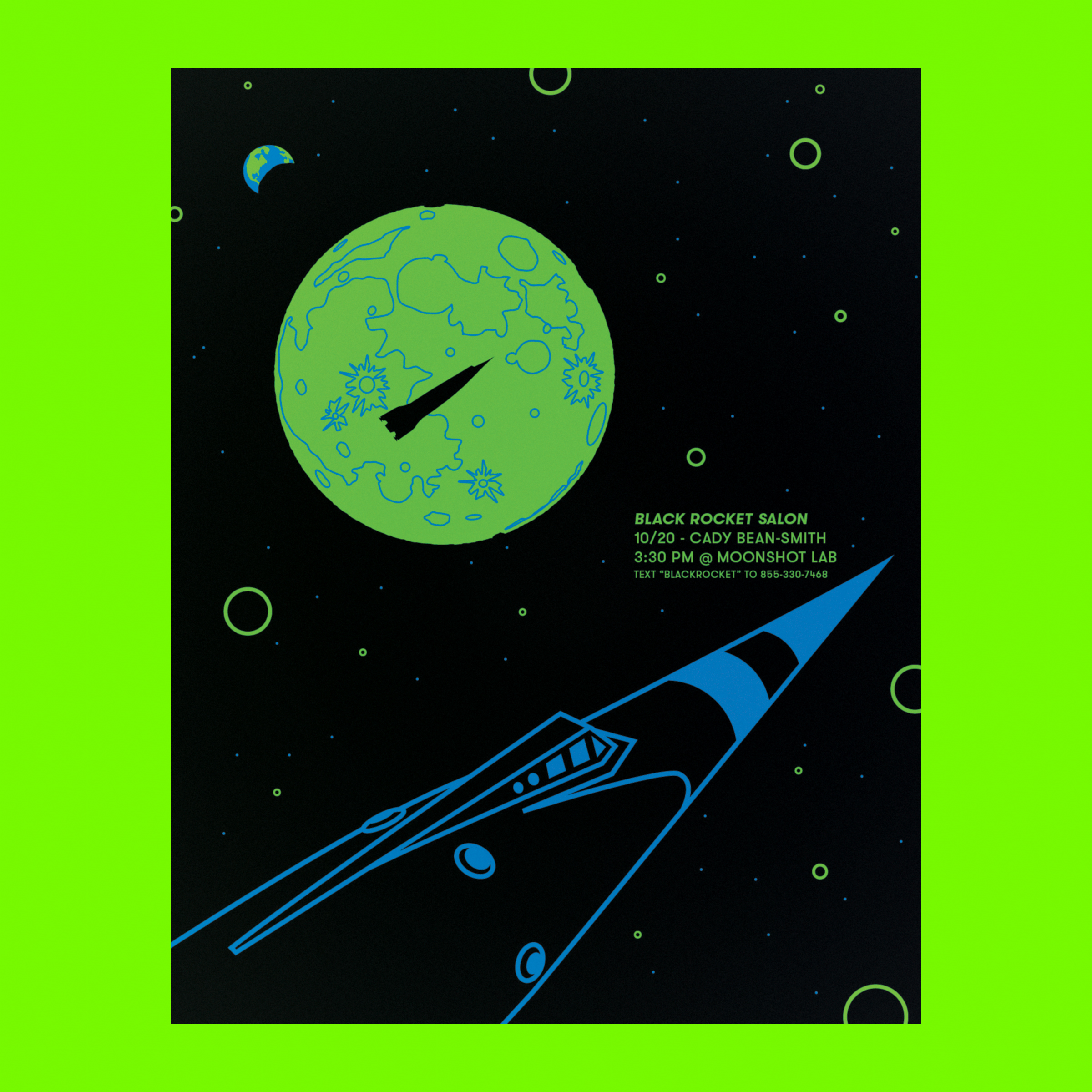 Black light posters for Moonshot. Designed and silkscreened by me.