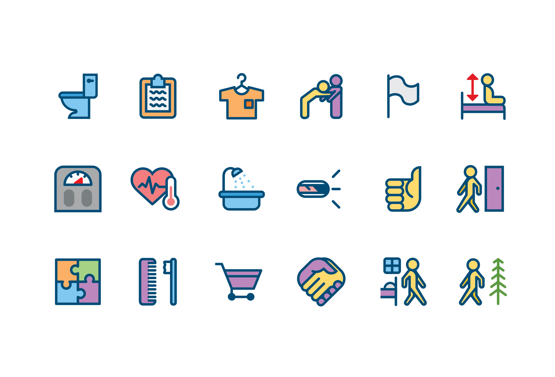 I created an icon design system to replace 50+ symbols used in an app for tracking the health of long term care patients. Each one is big, bold, and unique to make manual data entry quick and easy.