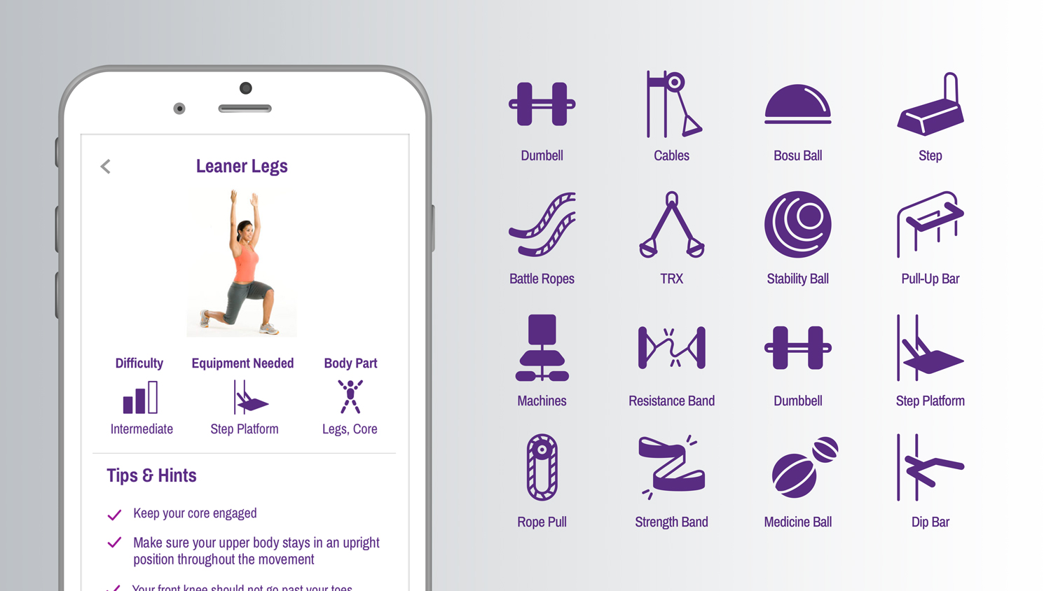 For the Equipment icons, we did what we could to match the look of actual Planet Fitness devices, while maintaining the approachable feel of our new navigation icons.