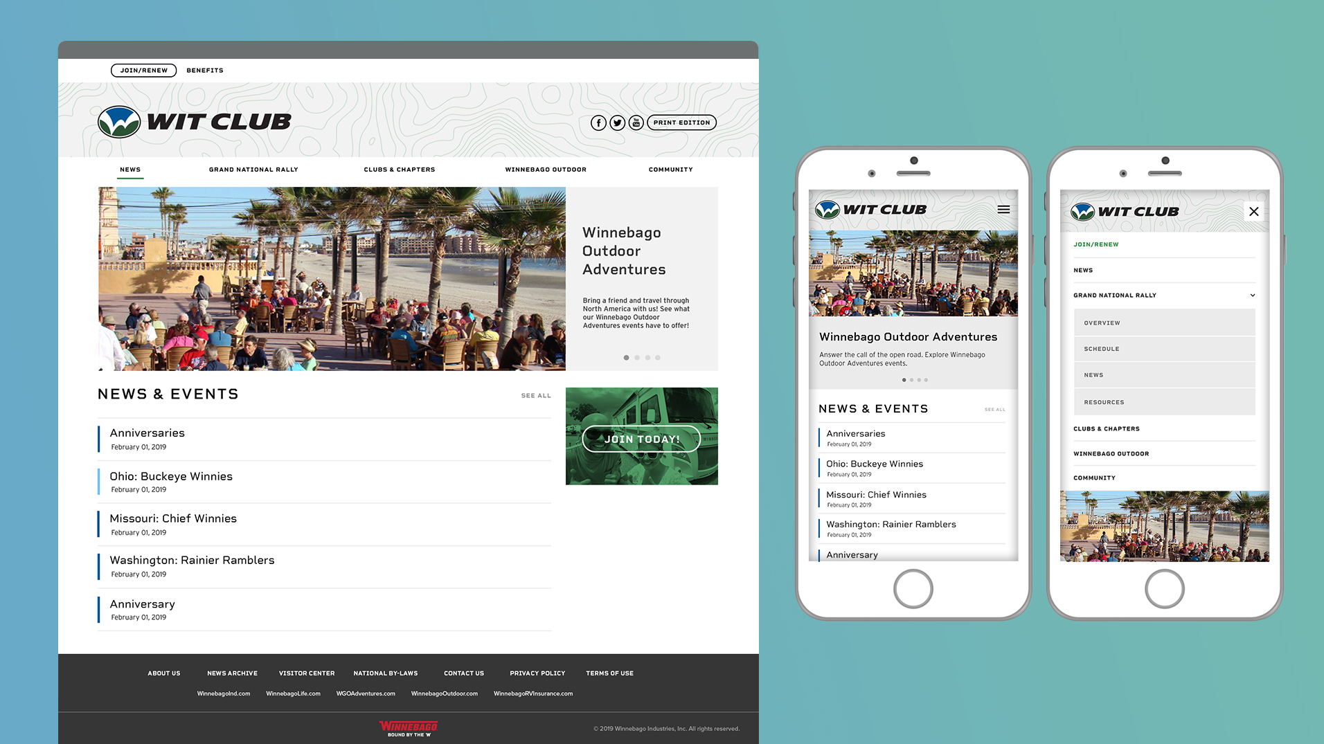 Website and mobile reskin for Winnebago International Travelers Club.