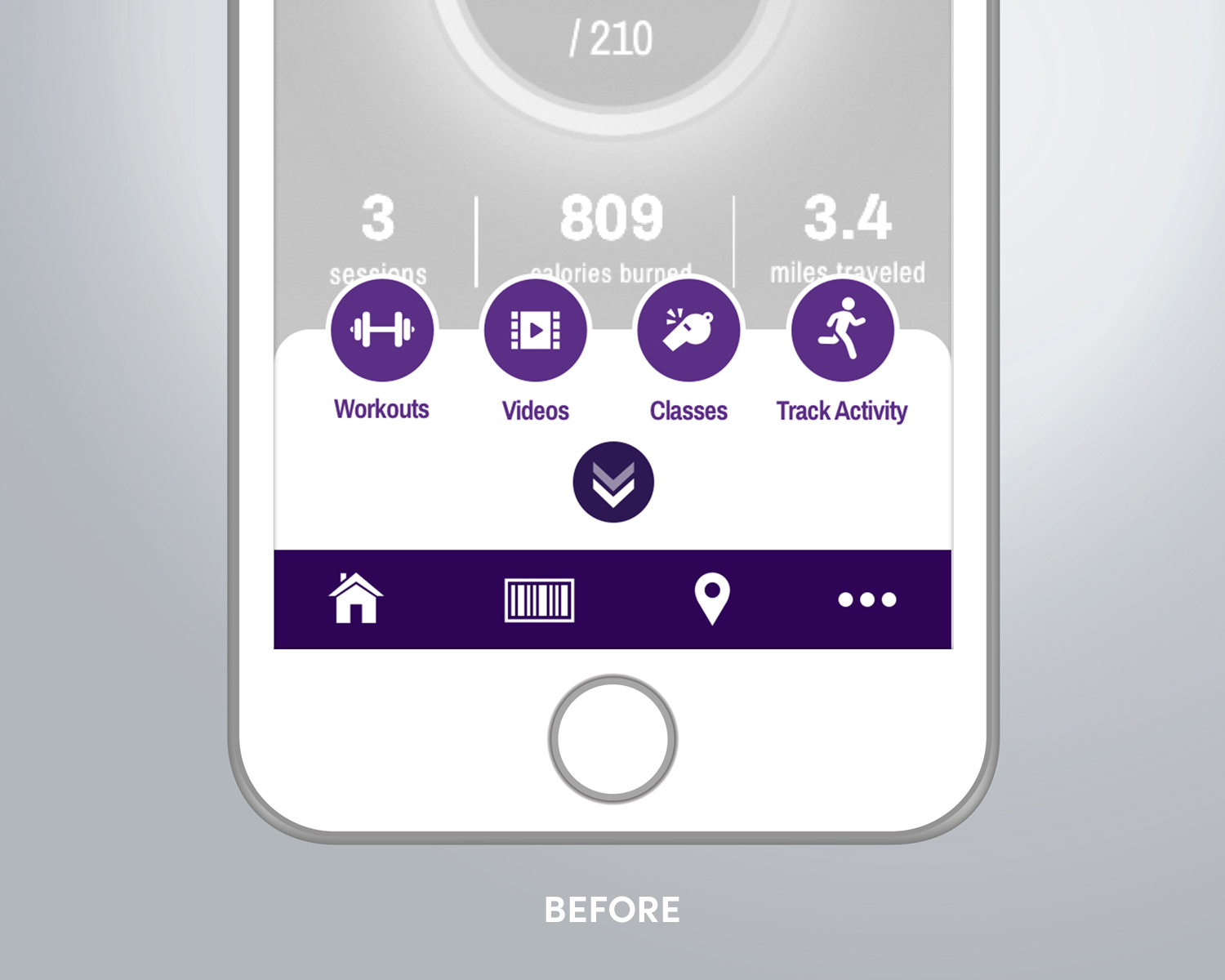 "Before: It was hard for users to deduce what each button in the tray did if they weren't familiar with Planet Fitness offerings. ""Track Activity"" was also misleading because the app was supposed to do that automatically through the ""Workouts"" feature. To make matters worse, the iconography had almost no consistency which made for jarring juxtaposition."