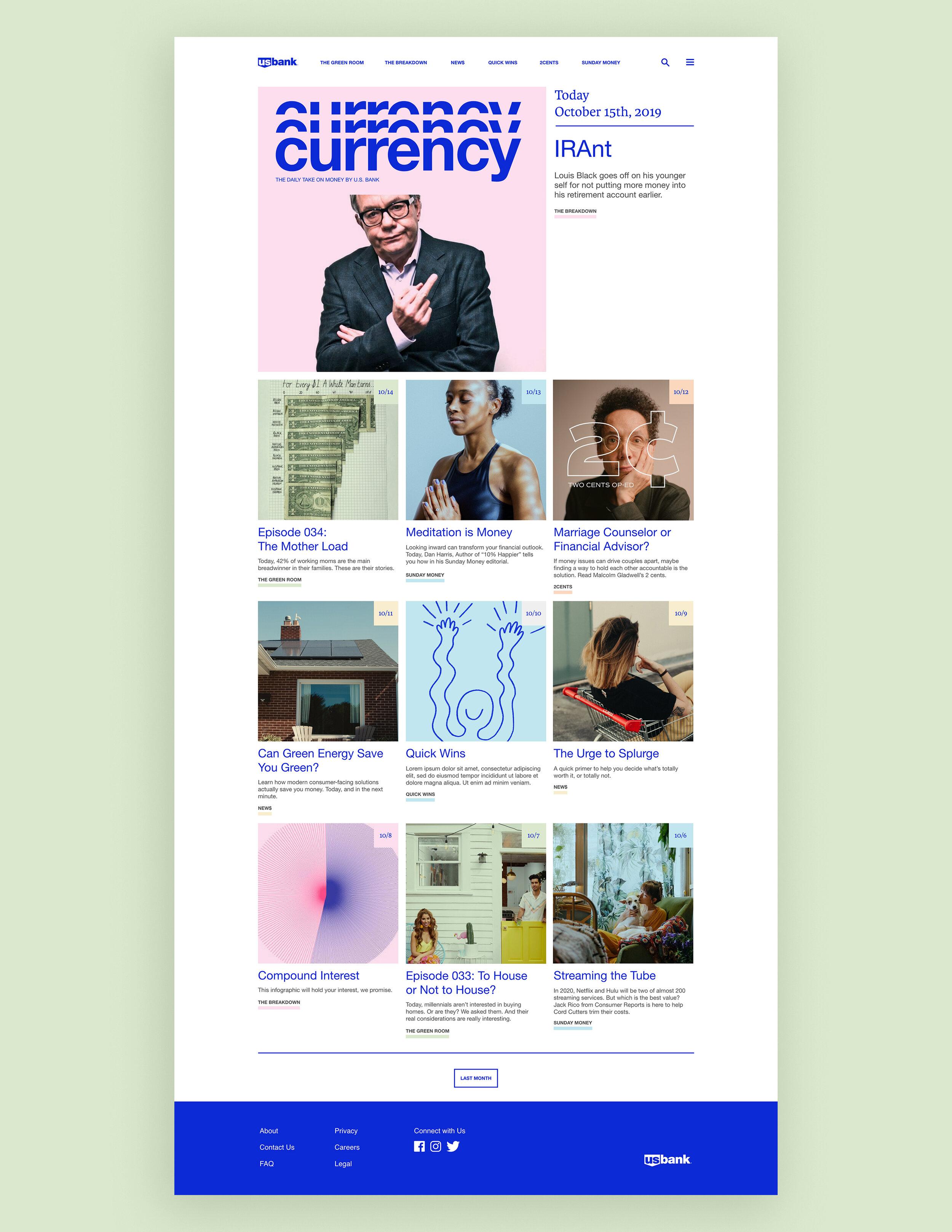 A calendar-esque news feed concept for U.S. Bank