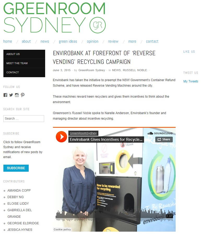 Envirobank's Reverse Vending Recycling Campaign - An interview with Narelle Anderson, the founder and managing director of Envirobank. Envirobank sought to incentivise recycling programs, and preempted the NSW Government's TOMRA program.