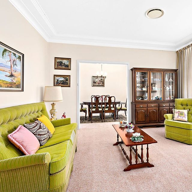 """""""This classic red brick family home is looking for a brand new family."""" #suburbia #retro #interior #design #Australia"""