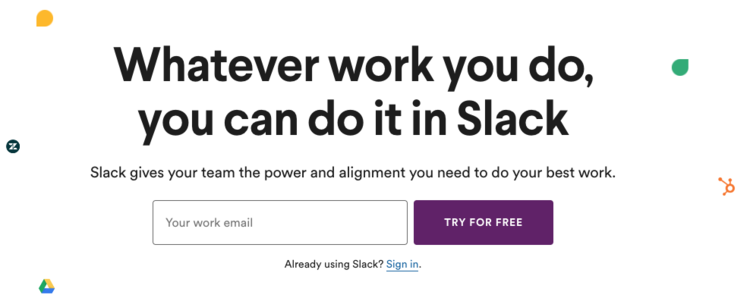 "Using words like ""power and alignment"" totally changes Slack's voice. It makes it sound like a big business tool, hardly the same cool tech friend that helped you get shit done at work."