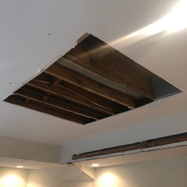 Water damage repair #drywall #patchjob #njconstruction #basement #fixthisdothat #hgtv #tylerknowsbest