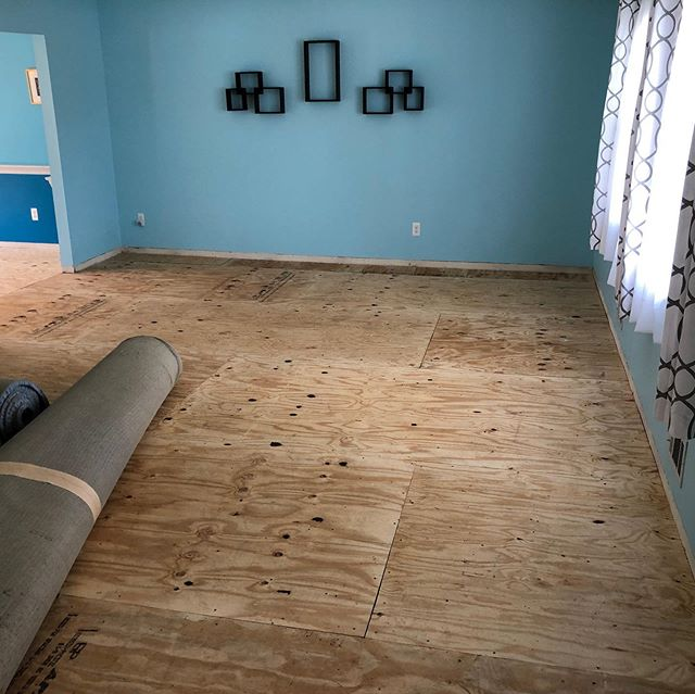 Subfloor time, clients subfloor was old cork board used to install carpet, @vochey installed new Cdx for the flooring team to install new hard wood.  #construction #njcontractor #instacontractor #lookinggood #construction #remodel #reno