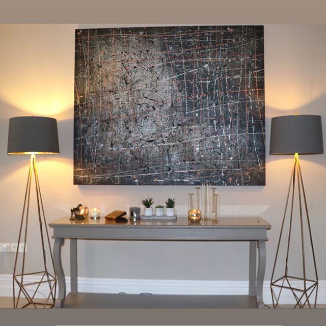 Love this finished look. Floorlamps available @art_and_accessories abstract art @chrisoharaart 💜  #abstractart #artist #art #irishdesign #irishdecor #lighting #homedecor #homesweethome