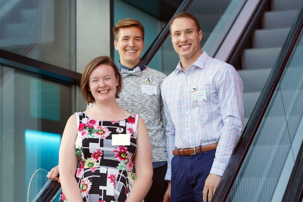 Michaela, Lara, and Tim, the co-founders of Fulbright Prism, in 2018.