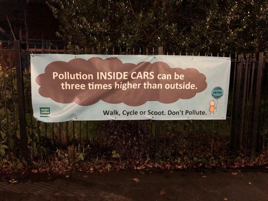 School banner outside Dulwich Infants Primary School, developed with Clean Air for Dulwich