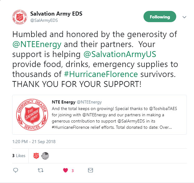 Emergency Assistance - In Fall 2018, Hurricane Florence impacted thousands of residents across the Carolinas. NTE Energy rallied our development partners, and together donated more than $65,000 to the Salvation Army to provide food, shelter and other emergency assistance to impacted communities.