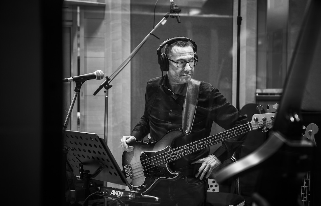 Bassist Jeremy Meek recording album with Paul Carrack at Air Studios