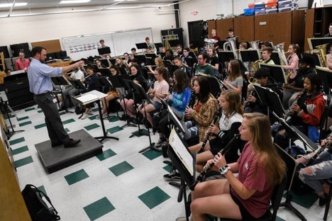 Students practice in the band at Parkside High School in Salisbury on Tuesday, April 9, 2019.   (Photo: Jenna Miller)